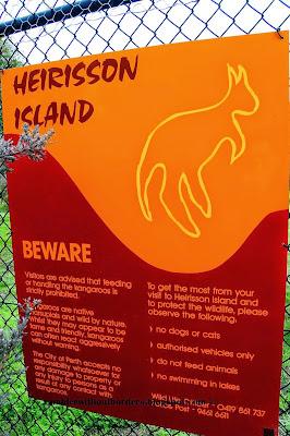 Sign at the gate entrance, Heirisson Island, Perth, WA