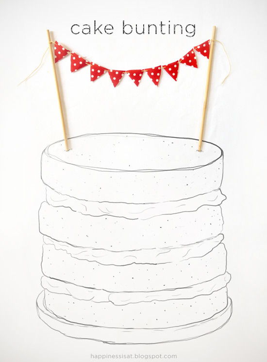Handmade cake bunting from Happiness is... Custom made, made to order.