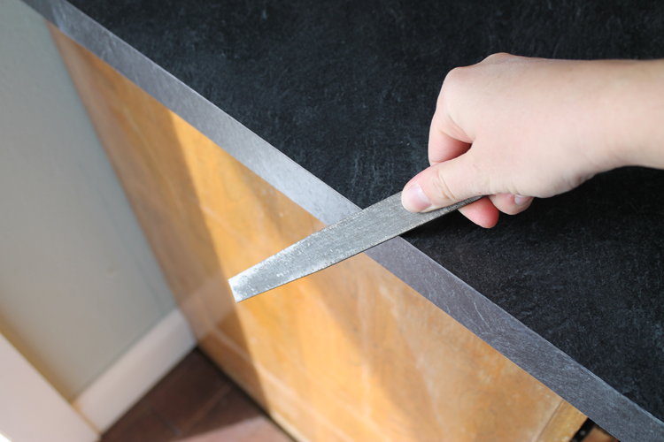File Edges The Of Your Freshly Cut Laminate Will Be Sharp So Them Down With A Metal At 45 Degree Angle