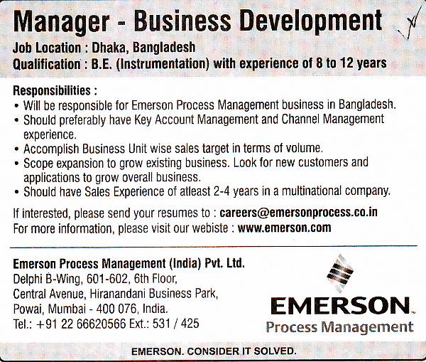 Emerson Process Management (India) Pvt  Ltd, Post: Manager  ~ All