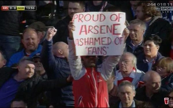 Check Out What Was Inscribed On This Fan's Placard At Arsenal Match Today
