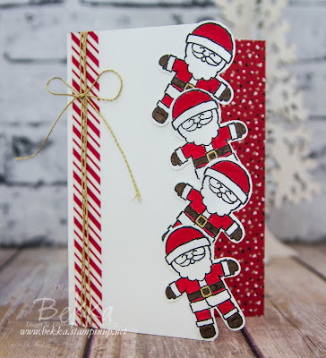 Tumbling Santa Card Made Using Cookie Cutter Christmas from Stampin' Up! UK - buy yours here