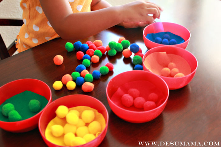 color sorting and fine motor skills school at home
