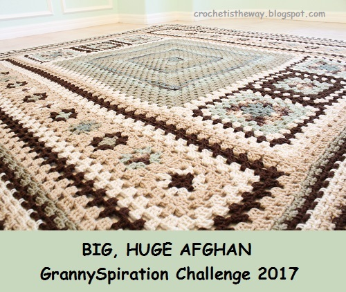afghan, Big, blanket, Caron One Pound, free, giveaway, granny square, granny stitch, Granny-Spiration Challenge 2017, linkup, pattern, seamless join, stashbuster, Super Saver, surface crochet, Yarn