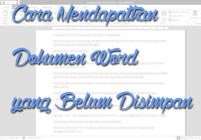Cara Mendapatkan Dokumen Word yang Belum Disimpan