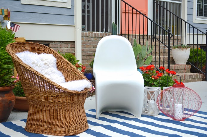 using indoor furniture to create seating area outside for Memorial Day weekend