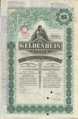 share certificate of the Geldenhuis Deep gold mining company in Transvaal South Africa