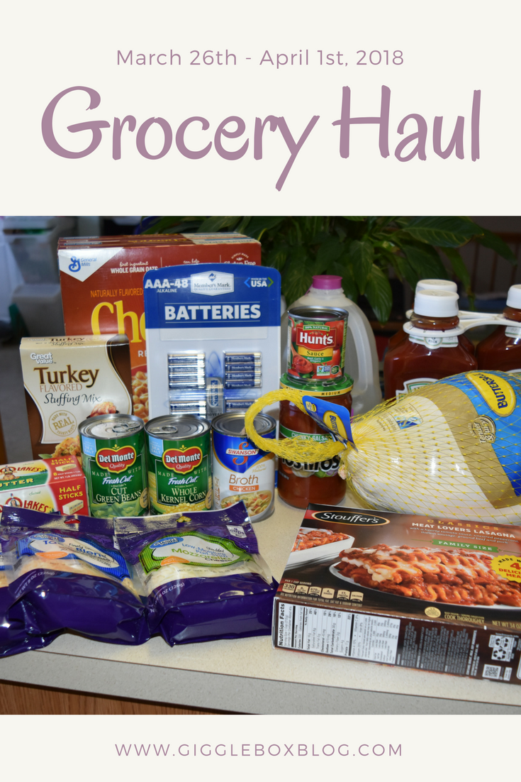 Grocery Haul for the week of March 26th thru April 1st