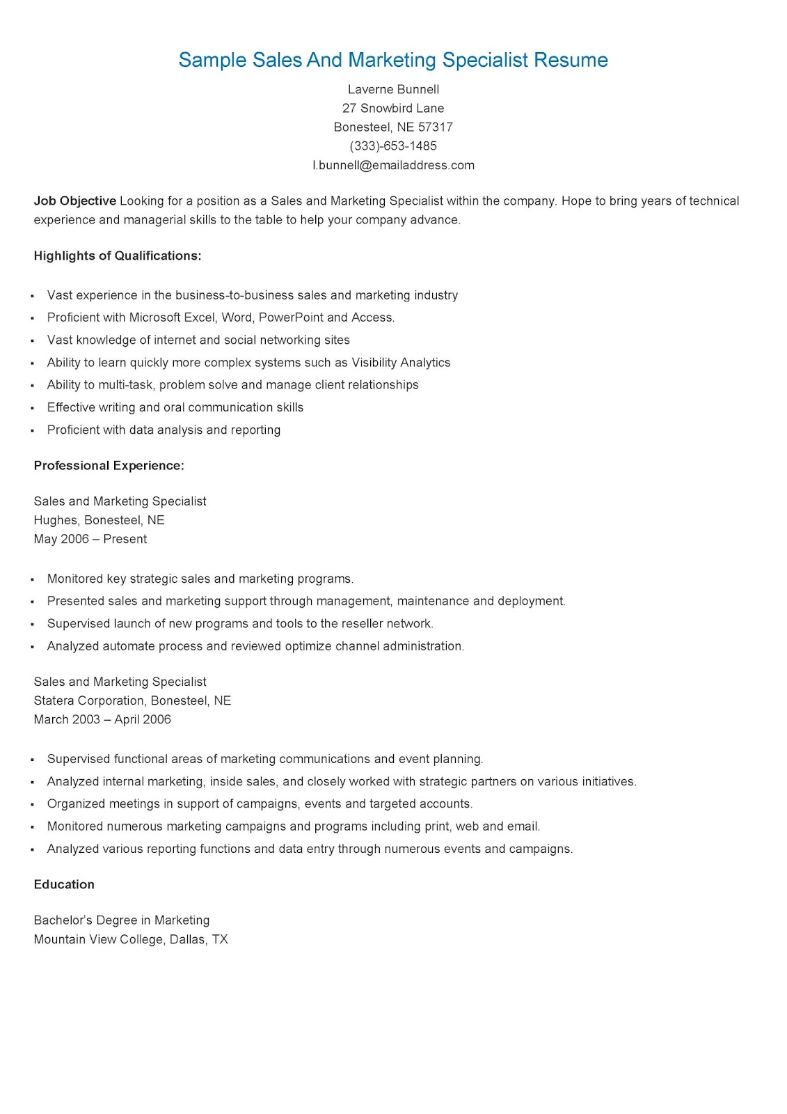resume samples  sample sales and marketing specialist resume