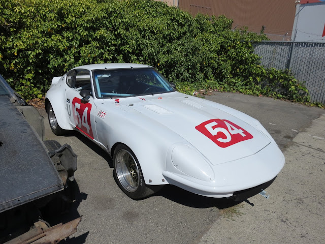 Larry Oka 1972 Datsun 240Z Race Car back at shop after 2015 Monterey Historic Races.