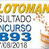 Resultado da Lotomania concurso 1893 (17/08/2018)