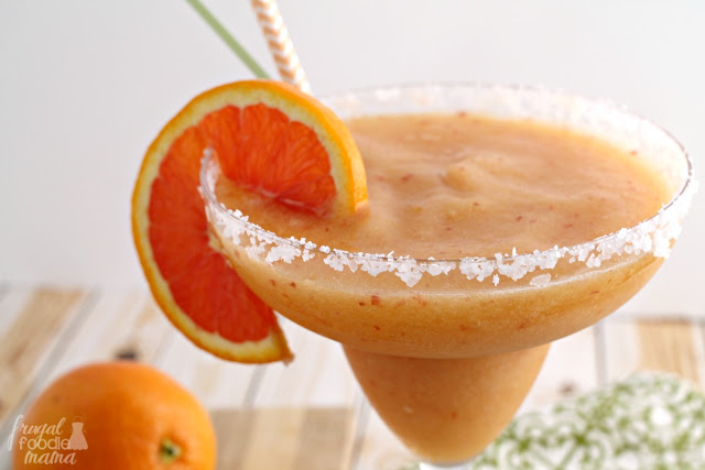 Ripe peach and sweet Cara Cara oranges come together in this refreshing Frozen Peach & Cara Cara Orange Margarita.