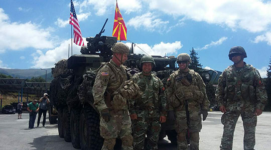 US Army convoy enters Macedonia for the Dragoon Guardian 17 exercise