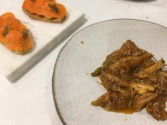 Pularda en el restaurante BlueIzar. Comer en Bilbao