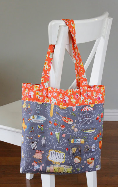 French Market Tote bag - made with Colette fabric