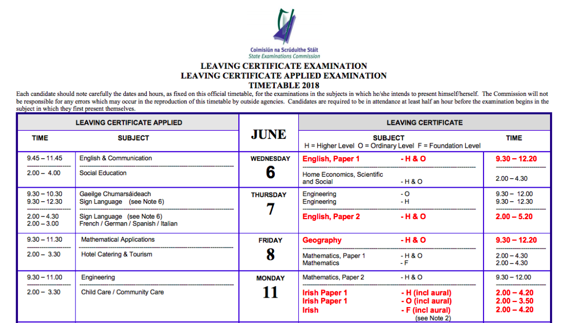 2018 Leaving Cert Timetable is here! 😬😅 – Leaving Cert Notes and