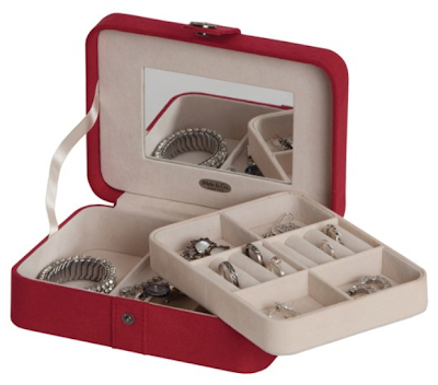 Jewelry travel storage case options: the Mele & Co Giana Plush Fabric Jewelry Box. Via Diamonds in the Library.