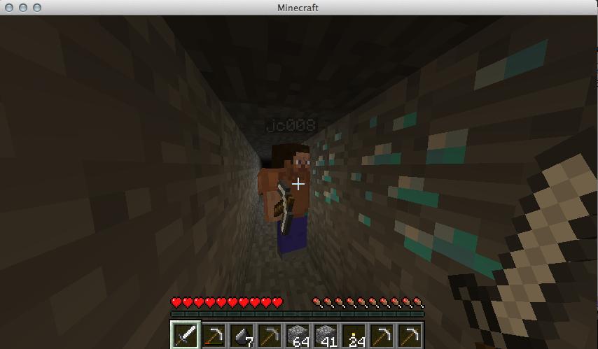 Mining for Diamonds.   Minecraft Screenshots:
