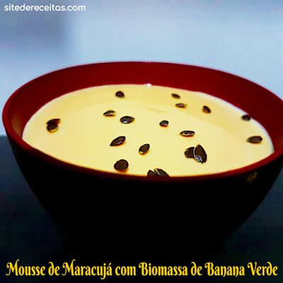Mousse de maracujá com biomassa de banana verde
