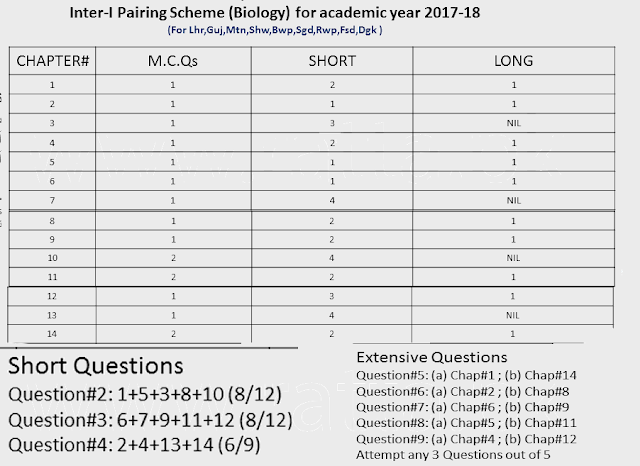 1st Year Biology Pairing Scheme 2019 - 11th Class - Inter Combination Download