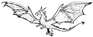 Drawing of a dragon from the flightless letter story by David Borden