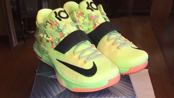 bd912bd88ce Here is new images spotted on ebay HERE of the Nike KD 7  Easter  Sneaker  which has a camo look like last year. These will release in 4 1 for 150  bucks.
