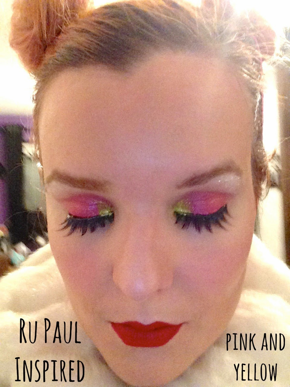 Ru Paul Inspired Pink and Yellow Make Up