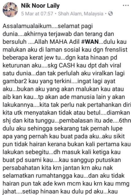 Wan Atirah Balas Kenyataan Suami, Dedah Suaminya Kaki Betina Dan Penagih Dadah & Ketum