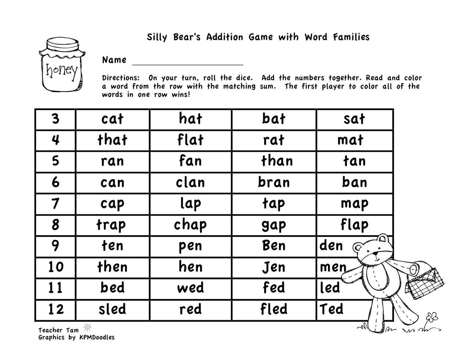 Teacher Tam S Educational Adventures A Freebie And Silly Bear S Sight Word Addition Games