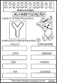 Atividades de alfabetização letra Y