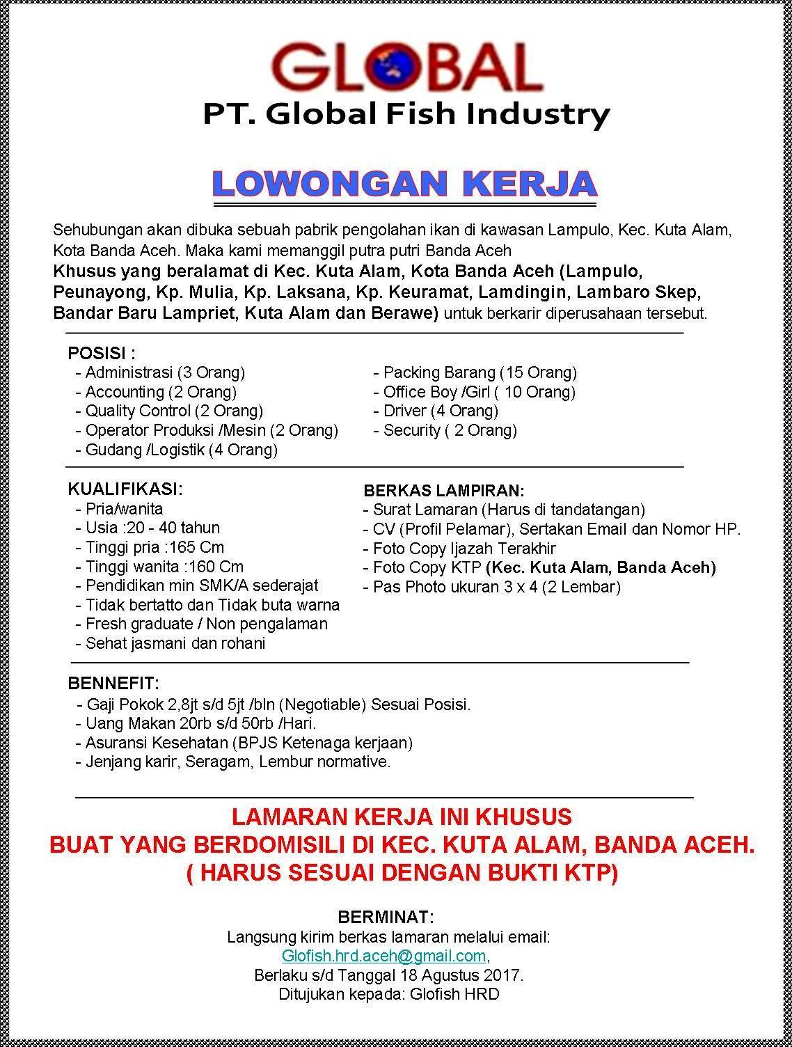 Lowongan Kerja Pt Global Fish Industry Banda Aceh List Kerja Aceh