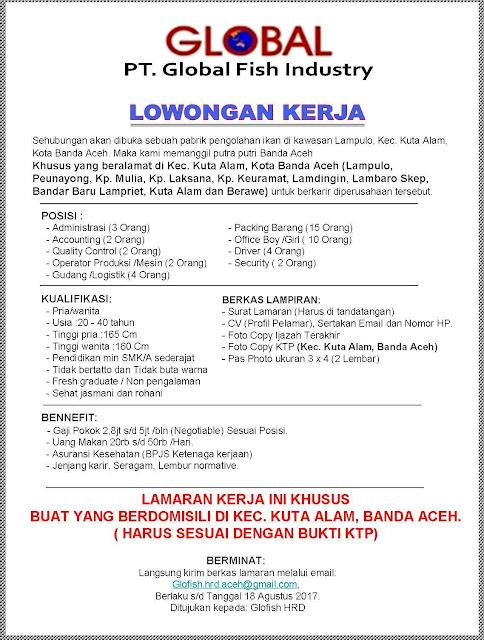 Lowongan Kerja Banda Aceh - PT Global Fish Industry