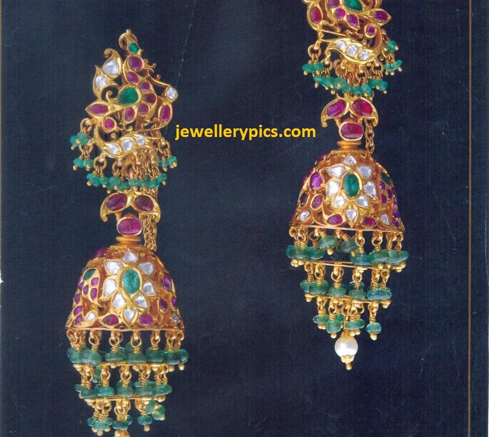 Jewelry Gold Khaleera Buttalu Jumka Kammalu Designs With Rubies