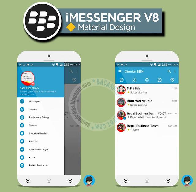 BBM Mod iMessenger Material Desgn Theme v8 Base v3.1.0.13 Apk terbaru For Android