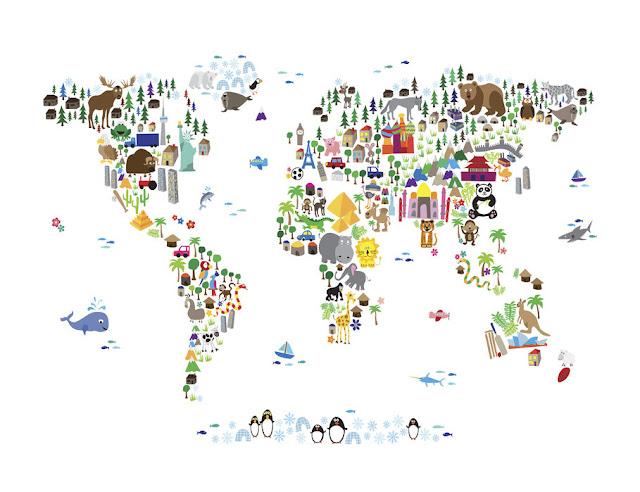 merikartta tapetti Valokuvatapetti world map lapsia Lapset