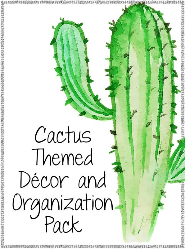 So I Created A 225 Page Classroom Decor And Organizational Pack That Is Cactus Themed Full Of Awesome Patterns Shades Green Watercolor