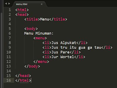 Menu List di HTML