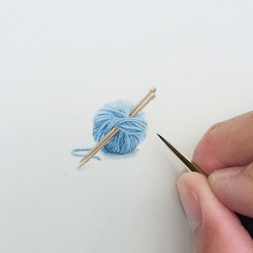 16-Ball-of-Yarn-and-Knitting-Needles-Karen-Libecap-Star-Wars-&-other-Miniature-Paintings-and-drawings-www-designstack-co