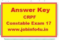 CRPF Answer Key 2017 for Constable Head Constable Exam, Test Key