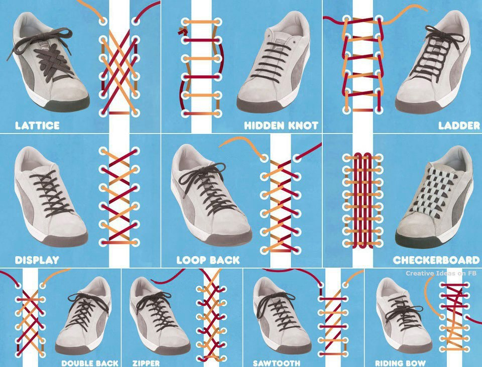 SOFT MINDS: Different Ways To Tie Shoelaces