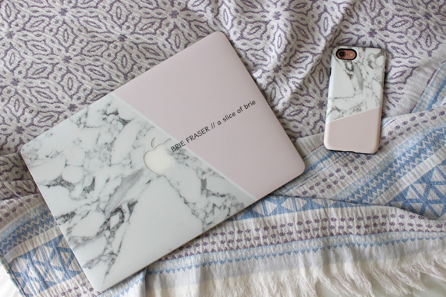 marble and pink custom iPhone and laptop case