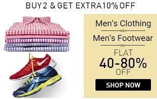 26ace892b Festive Offer  Men s Clothing   Footwear – Minimum 40% upto 80% Off + Extra  10% Off on Purchase of 2 or more Qty   Snapdeal