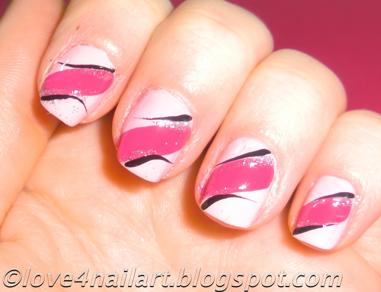 Love4nailart easy pink nail art design 4 short nails - Easy nail designs for short nails at home ...