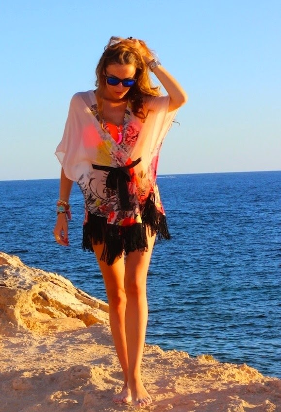 Wearing a Kimono with Fringing as Beach Cover up