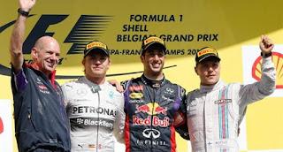 Podio Spa Francorchamps  2014, ganador Daniel Ricciardo