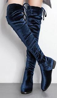 Sepatu high heels model chunky boots untuk kaki besar wanita