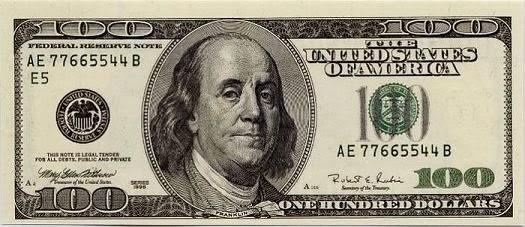 Benjamin Franklin pada uang 100 Dollar