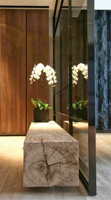 bench from log, white flowers, floor length glass