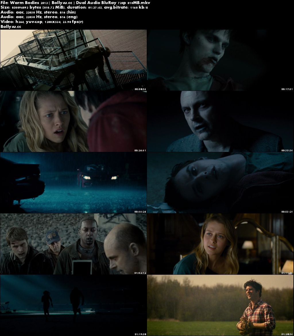 Warm Bodies 2013 BluRay 800MB Hindi Dual Audio 720p Download