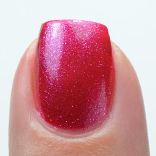 metallic red nail polish swatch
